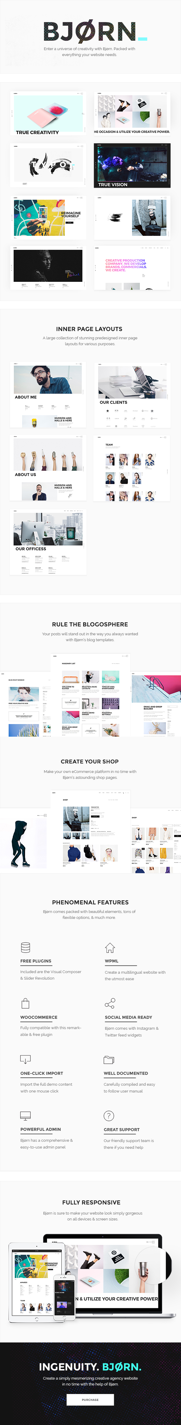 WordPress theme Bjorn - A Contemporary and Clean Multipurpose Theme (Creative)